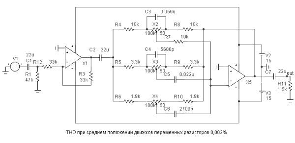 Принципиальная схема темброблока с использованием обратной связи операционного усилителя.