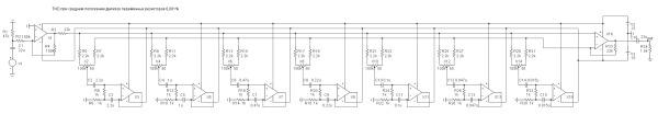 Принципиальная схема шестиполосного графического эквалайзера