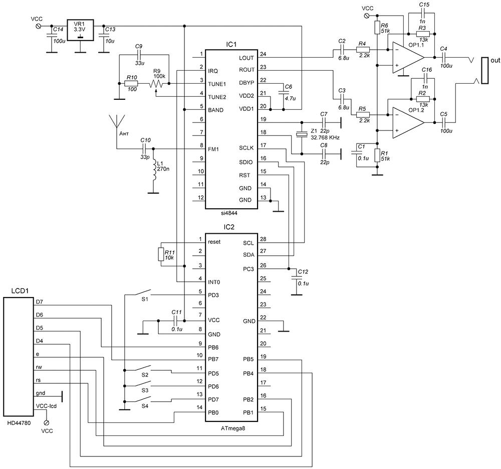 Схема УКВ-приемника с цифровой обработкой принимаемого сигнала