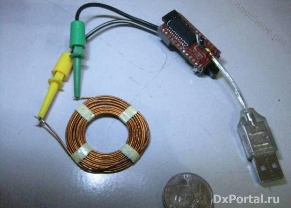 USB LC метр.  Измерение индуктивности и емкости с помощью PIC18F2550 , подключенного к USB.  Вид устройства в сборе с...