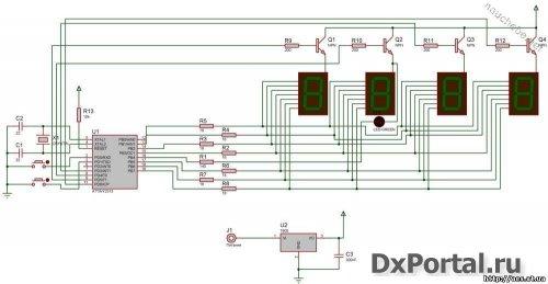 Микроконтроллер тактируется кварцем с частотой 16 МГц.  В качестве счетчика времени, внутри микроконтроллера запущен...